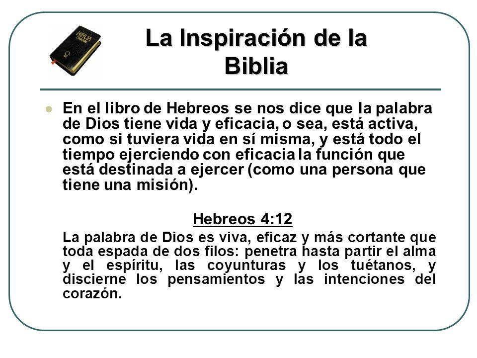 En el libro de Hebreos se nos dice que la palabra de Dios tiene vida y eficacia, o sea, está activa, como si tuviera vida en sí misma, y está todo el
