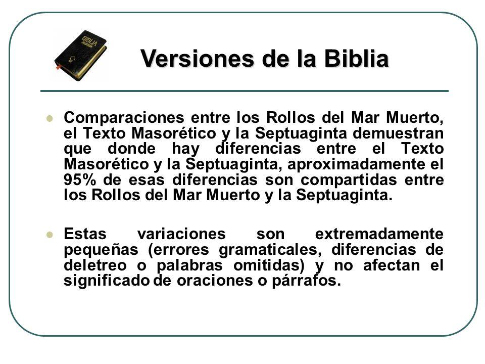 Comparaciones entre los Rollos del Mar Muerto, el Texto Masorético y la Septuaginta demuestran que donde hay diferencias entre el Texto Masorético y l