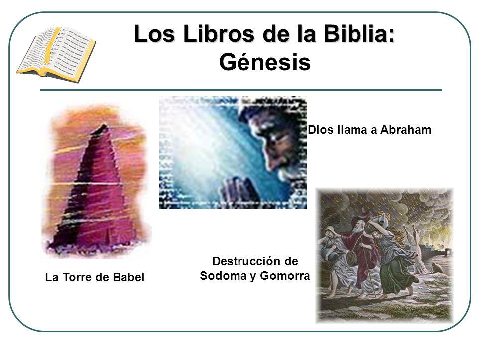 Los Libros de la Biblia: Los Libros de la Biblia: Génesis La Torre de Babel Dios llama a Abraham Destrucción de Sodoma y Gomorra