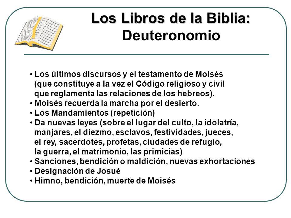Los Libros de la Biblia: Los Libros de la Biblia: Deuteronomio Los últimos discursos y el testamento de Moisés (que constituye a la vez el Código reli