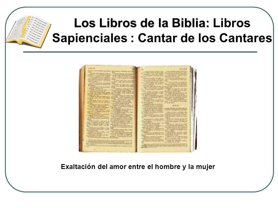 Los Libros de la Biblia: Los Libros de la Biblia: Libros Sapienciales : Cantar de los Cantares Exaltación del amor entre el hombre y la mujer
