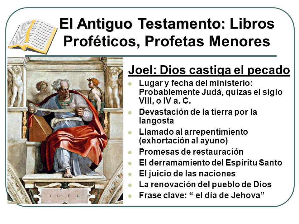 Joel: Dios castiga el pecado Lugar y fecha del ministerio: Probablemente Judá, quizas el siglo VIII, o IV a. C. Devastación de la tierra por la langos