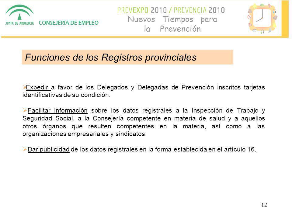 12 Nuevos Tiempos para la Prevención Expedir a favor de los Delegados y Delegadas de Prevención inscritos tarjetas identificativas de su condición.