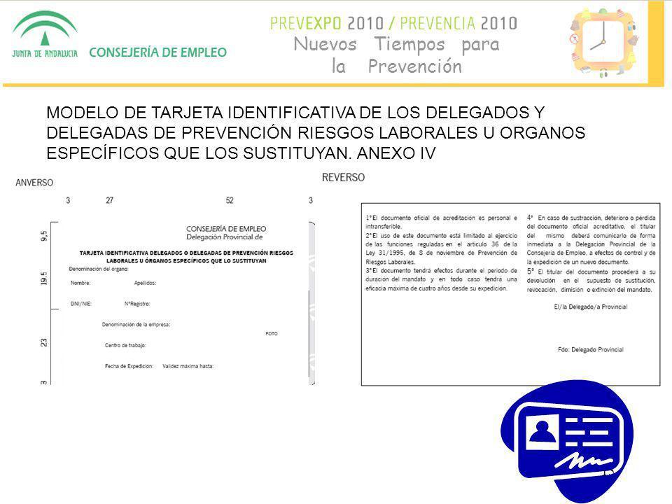 15 Nuevos Tiempos para la Prevención MODELO DE TARJETA IDENTIFICATIVA DE LOS DELEGADOS Y DELEGADAS DE PREVENCIÓN RIESGOS LABORALES U ORGANOS ESPECÍFICOS QUE LOS SUSTITUYAN.