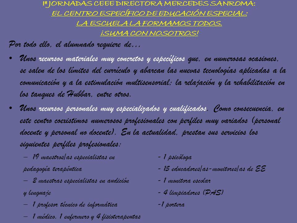 Iª JORNADAS CEEE DIRECTORA MERCEDES SANROMA: EL CENTRO ESPECÍFICO DE EDUCACIÓN ESPECIAL: LA ESCUELA LA FORMAMOS TODOS. ¡SUMA CON NOSOTROS! Por todo el