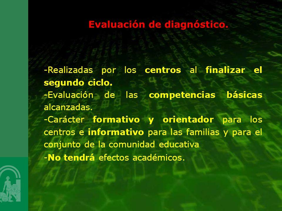 Evaluación de diagnóstico. -Realizadas por los centros al finalizar el segundo ciclo. -Evaluación de las competencias básicas alcanzadas. -Carácter fo