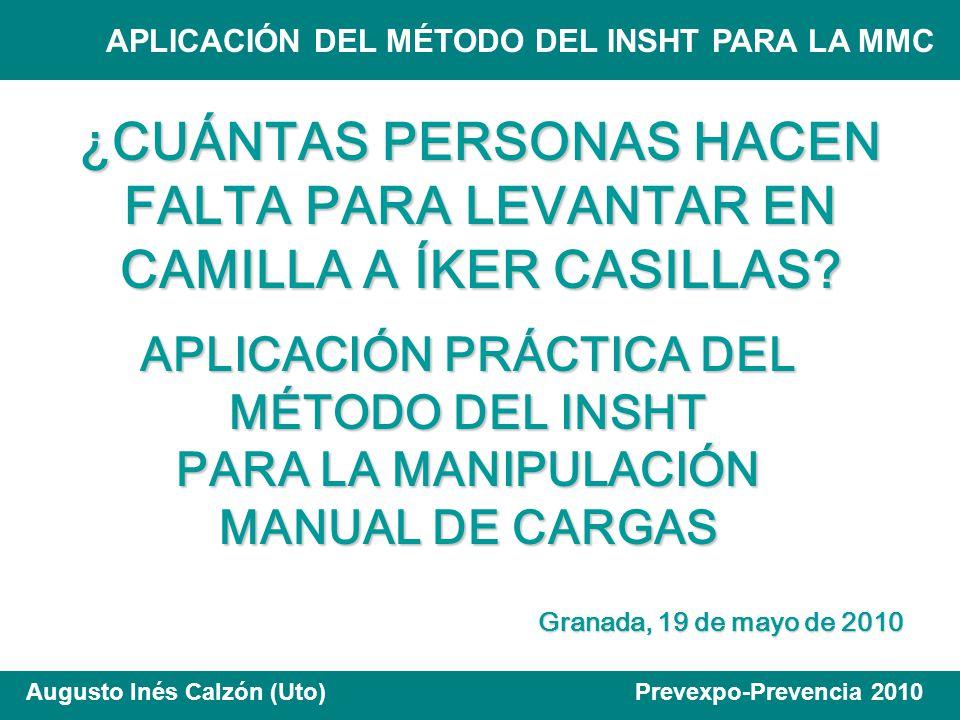 APLICACIÓN DEL MÉTODO DEL INSHT PARA LA MMC Augusto Inés Calzón (Uto) Prevexpo-Prevencia 2010 En general, en un equipo de dos personas, la capacidad de levantamiento es dos tercios de la suma de las capacidades individuales.