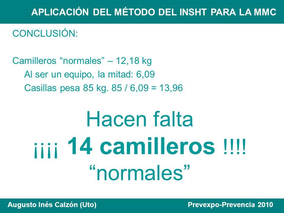 APLICACIÓN DEL MÉTODO DEL INSHT PARA LA MMC Augusto Inés Calzón (Uto) Prevexpo-Prevencia 2010 CONCLUSIÓN: Camilleros normales – 12,18 kg Al ser un equ
