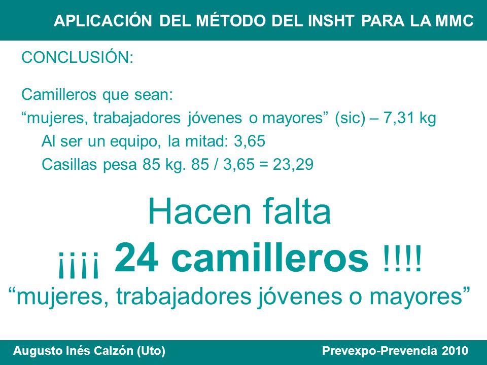 APLICACIÓN DEL MÉTODO DEL INSHT PARA LA MMC Augusto Inés Calzón (Uto) Prevexpo-Prevencia 2010 CONCLUSIÓN: Camilleros que sean: mujeres, trabajadores j