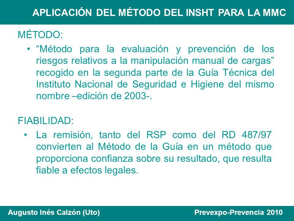 APLICACIÓN DEL MÉTODO DEL INSHT PARA LA MMC Augusto Inés Calzón (Uto) Prevexpo-Prevencia 2010 FIABILIDAD: La remisión, tanto del RSP como del RD 487/9