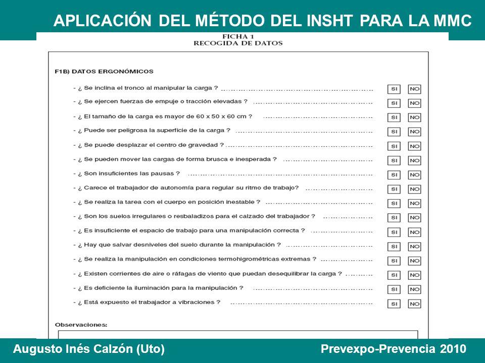 APLICACIÓN DEL MÉTODO DEL INSHT PARA LA MMC Augusto Inés Calzón (Uto) Prevexpo-Prevencia 2010