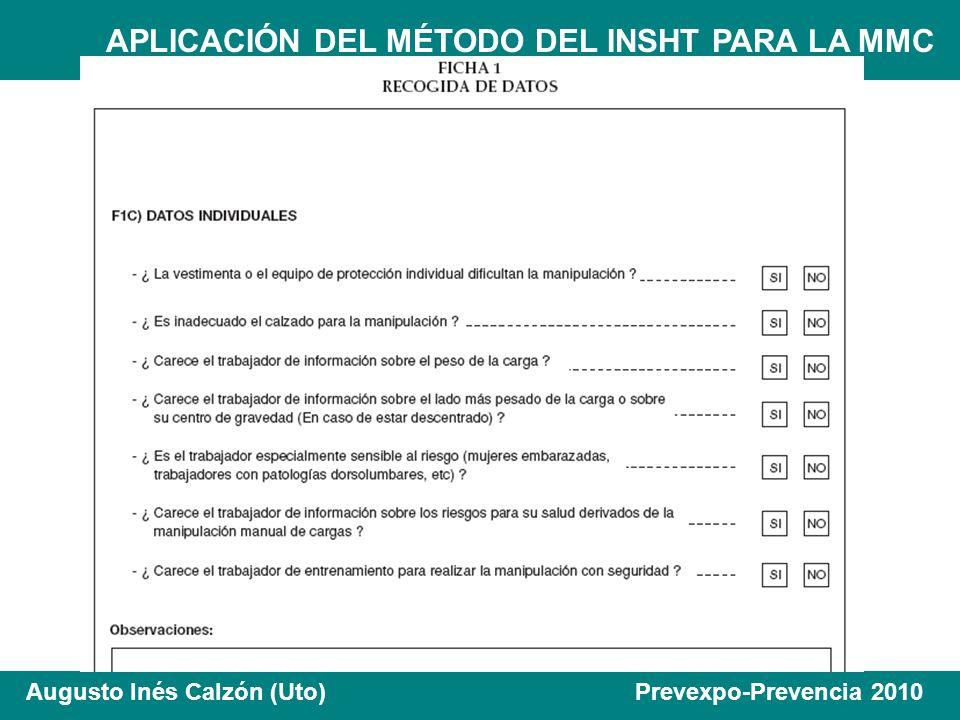 APLICACIÓN DEL MÉTODO DEL INSHT PARA LA MMC Augusto Inés Calzón (Uto) Prevexpo-Prevencia 2010 14 0,87 11112,18