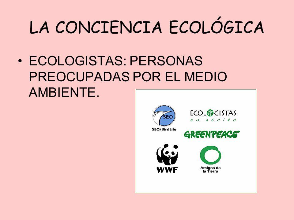 LA CONCIENCIA ECOLÓGICA ECOLOGISTAS: PERSONAS PREOCUPADAS POR EL MEDIO AMBIENTE.