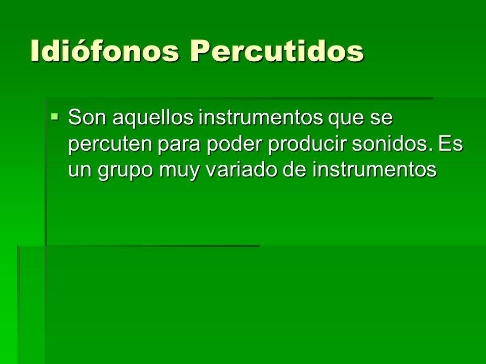 Idiófonos Percutidos Son aquellos instrumentos que se percuten para poder producir sonidos. Es un grupo muy variado de instrumentos Son aquellos instr