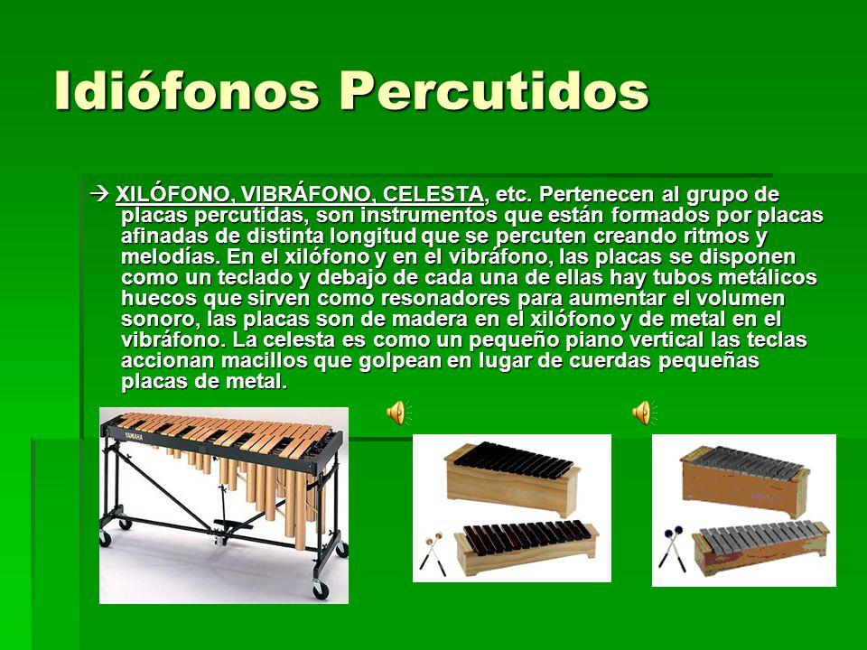 Idiófonos Percutidos XILÓFONO, VIBRÁFONO, CELESTA, etc. Pertenecen al grupo de placas percutidas, son instrumentos que están formados por placas afina