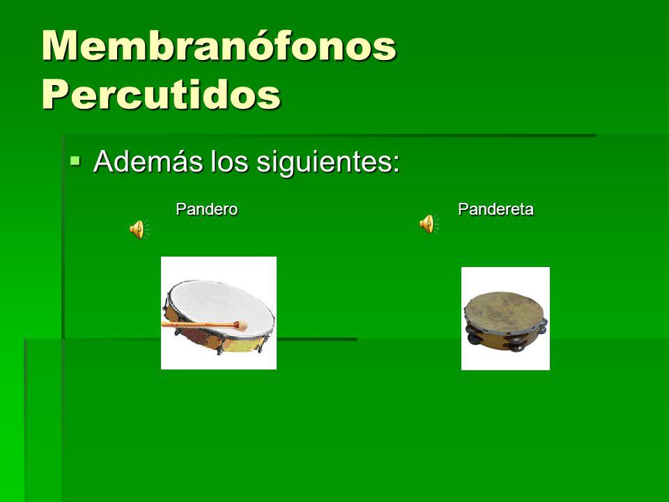 Membranófonos Percutidos Además los siguientes: Además los siguientes: Pandero Pandereta Pandero Pandereta