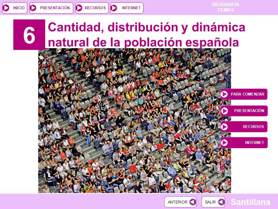 GEOGRAFÍA TEMA 6 RECURSOSINTERNETPRESENTACIÓN Santillana INICIO 6 Cantidad, distribución y dinámica natural de la población española PARA COMENZAR PRE