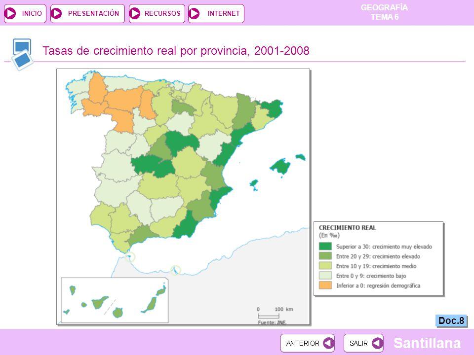 GEOGRAFÍA TEMA 6 RECURSOSINTERNETPRESENTACIÓN Santillana INICIO Tasas de crecimiento real por provincia, 2001-2008 Doc.8
