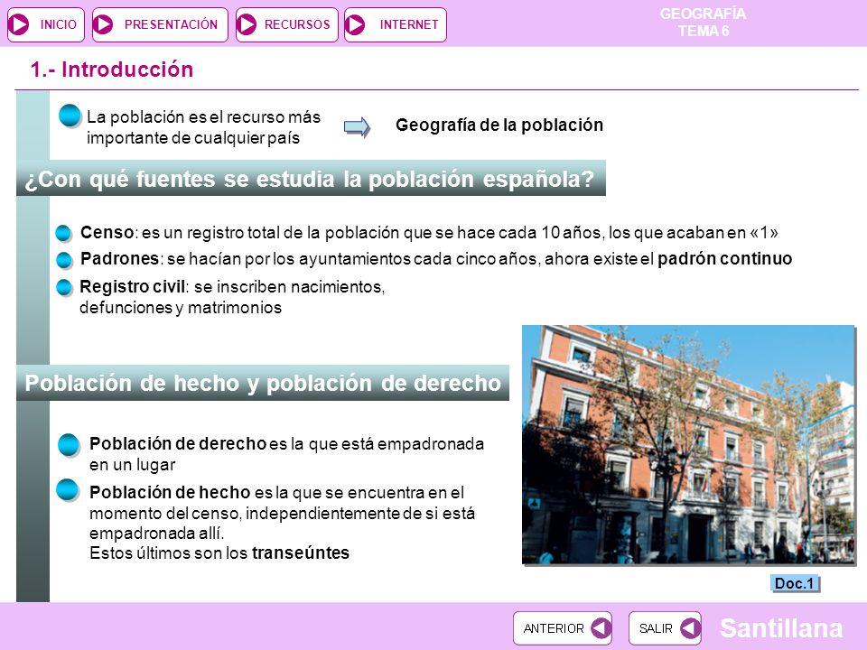 GEOGRAFÍA TEMA 6 RECURSOSINTERNETPRESENTACIÓN Santillana INICIO ¿Con qué fuentes se estudia la población española? 1.- Introducción Población de hecho