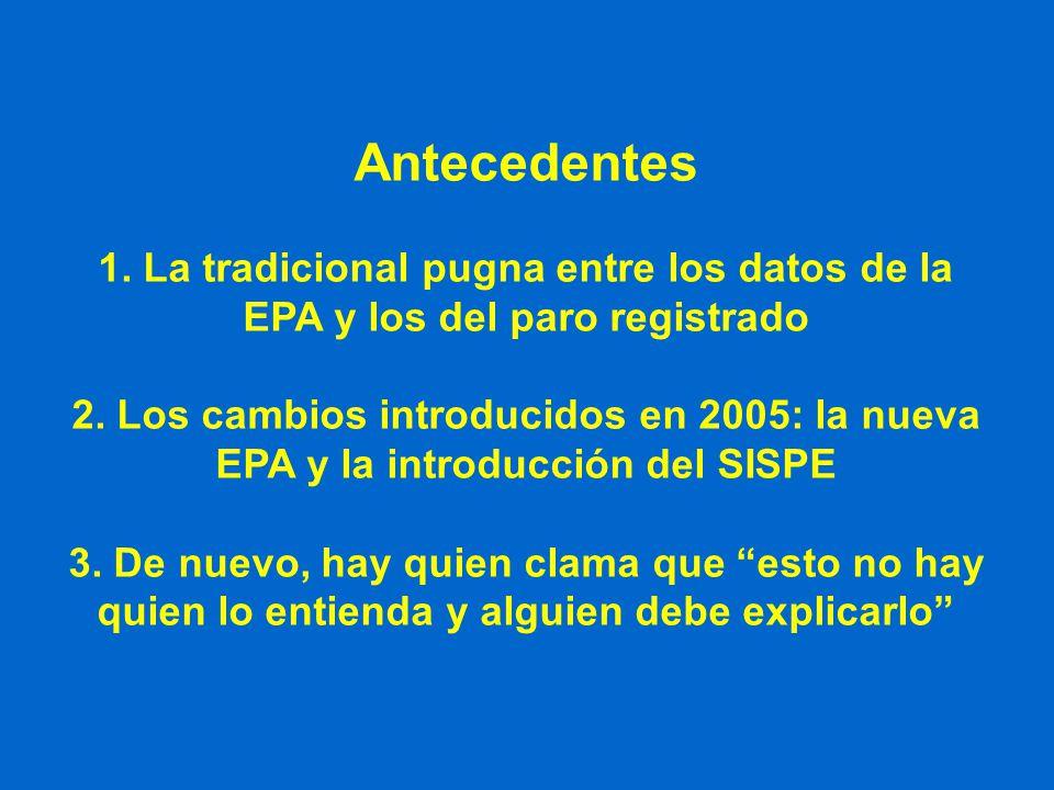 Antecedentes 1. La tradicional pugna entre los datos de la EPA y los del paro registrado 2. Los cambios introducidos en 2005: la nueva EPA y la introd