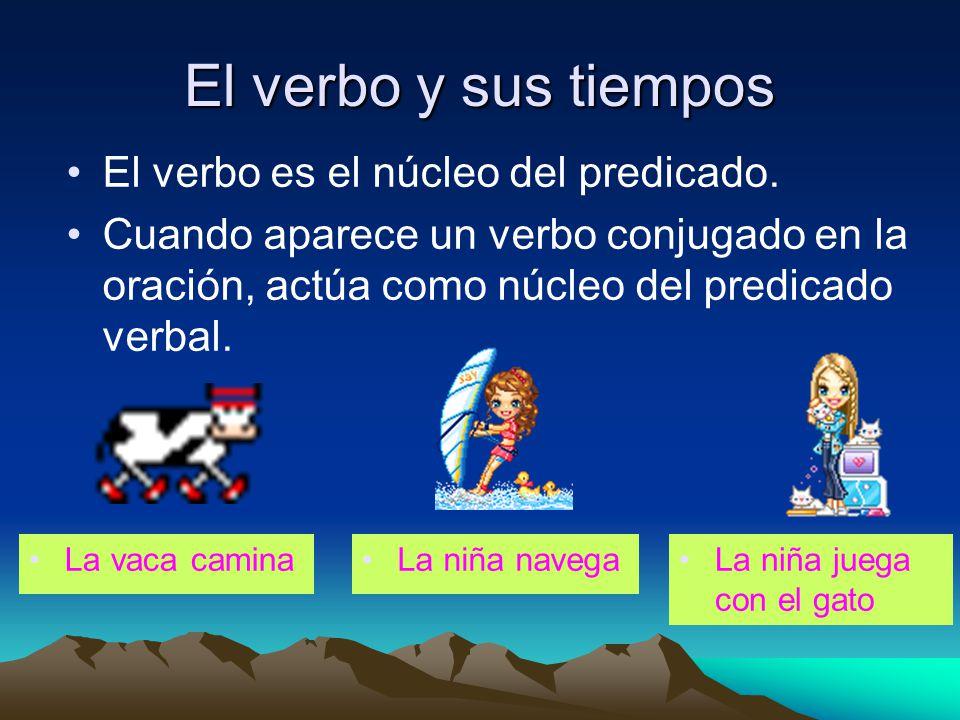 El verbo y sus tiempos El verbo es el núcleo del predicado. Cuando aparece un verbo conjugado en la oración, actúa como núcleo del predicado verbal. L