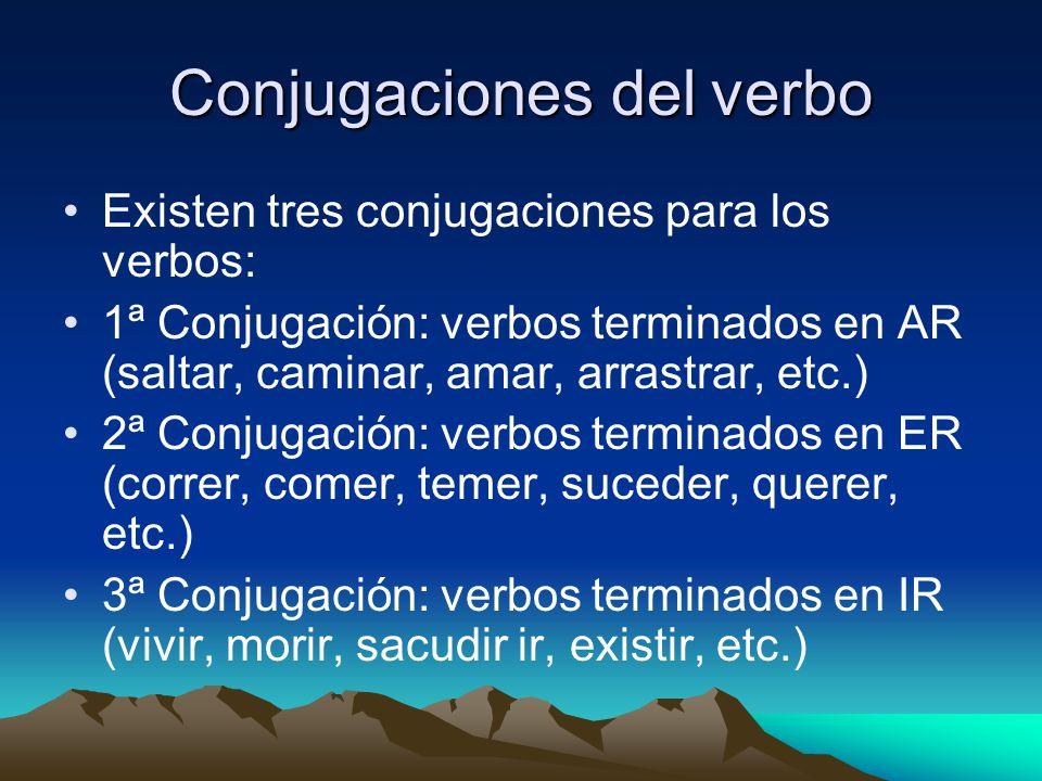 Conjugaciones del verbo Existen tres conjugaciones para los verbos: 1ª Conjugación: verbos terminados en AR (saltar, caminar, amar, arrastrar, etc.) 2