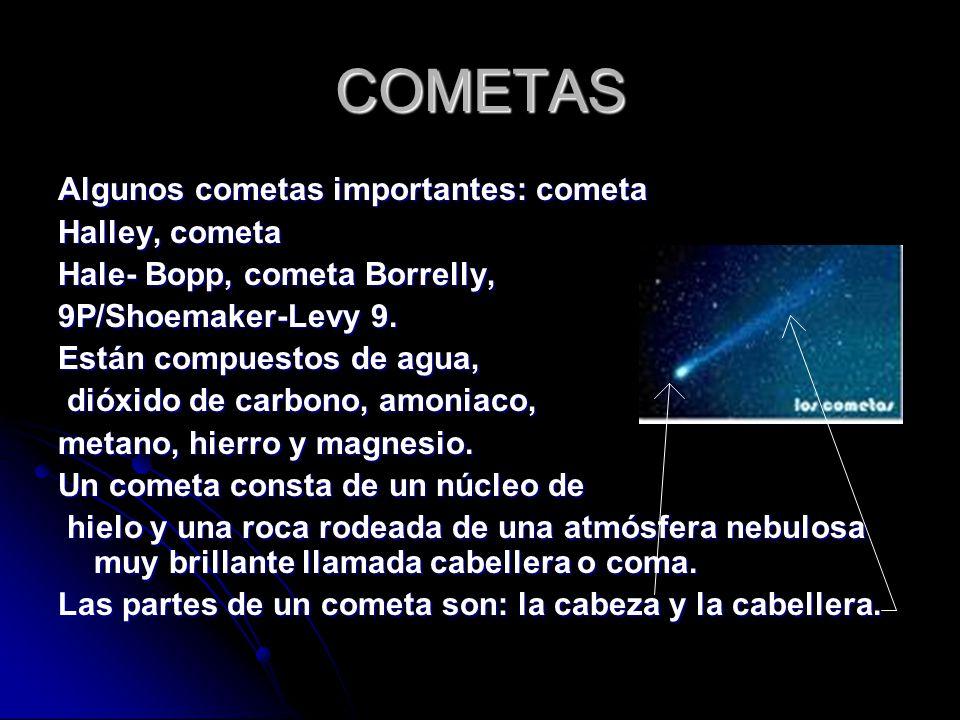 COMETAS Algunos cometas importantes: cometa Halley, cometa Hale- Bopp, cometa Borrelly, 9P/Shoemaker-Levy 9.