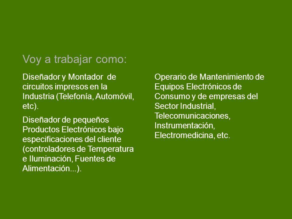 Diseñador y Montador de circuitos impresos en la Industria (Telefonía, Automóvil, etc). Diseñador de pequeños Productos Electrónicos bajo especificaci