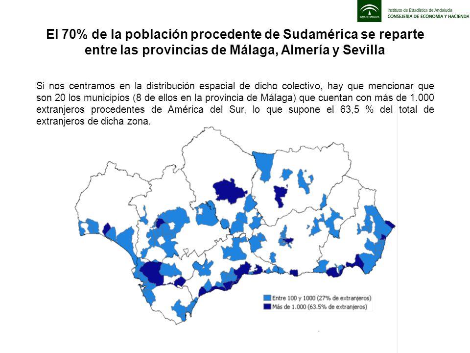 El 70% de la población procedente de Sudamérica se reparte entre las provincias de Málaga, Almería y Sevilla Si nos centramos en la distribución espac