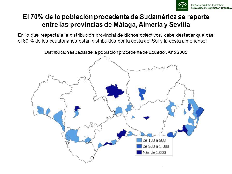 En lo que respecta a la distribución provincial de dichos colectivos, cabe destacar que casi el 60 % de los ecuatorianos están distribuidos por la cos