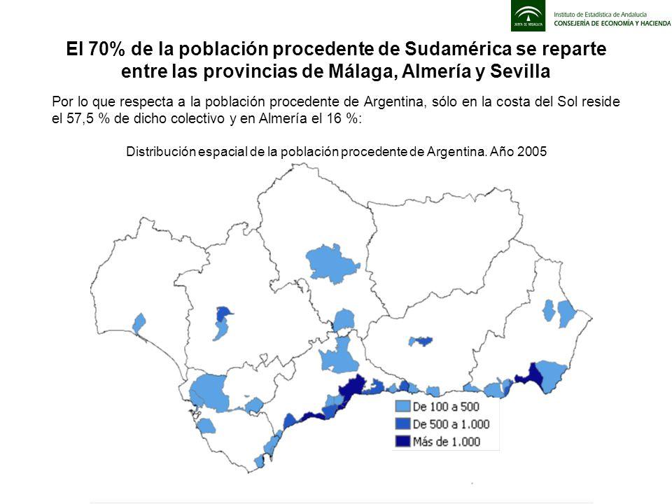 Por lo que respecta a la población procedente de Argentina, sólo en la costa del Sol reside el 57,5 % de dicho colectivo y en Almería el 16 %: El 70%