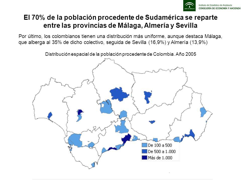 Por último, los colombianos tienen una distribución más uniforme, aunque destaca Málaga, que alberga al 35% de dicho colectivo, seguida de Sevilla (16