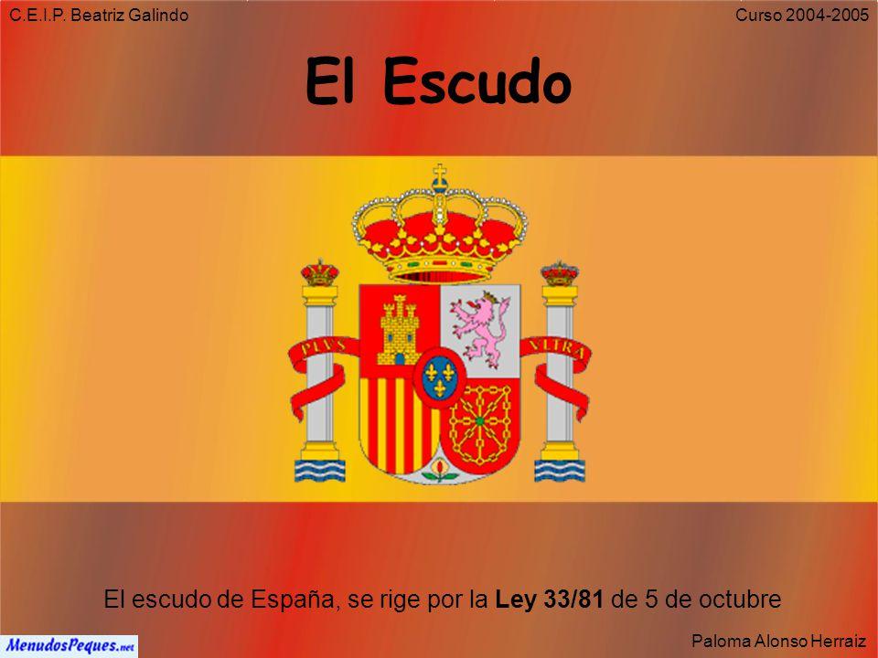 C.E.I.P. Beatriz Galindo Paloma Alonso Herraiz Curso 2004-2005 Artículo 4 1. La bandera de España está formada por tres franjas horizontales, roja, am