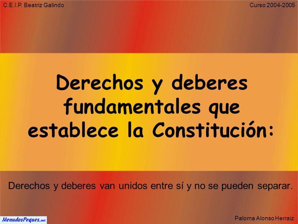 C.E.I.P. Beatriz Galindo Paloma Alonso Herraiz Curso 2004-2005 Artículo 5 La capital del Estado es la villa de Madrid.