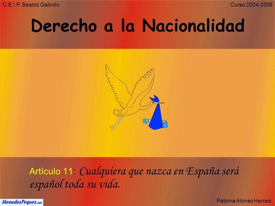 C.E.I.P. Beatriz Galindo Paloma Alonso Herraiz Curso 2004-2005 Derechos y deberes fundamentales que establece la Constitución: Derechos y deberes van
