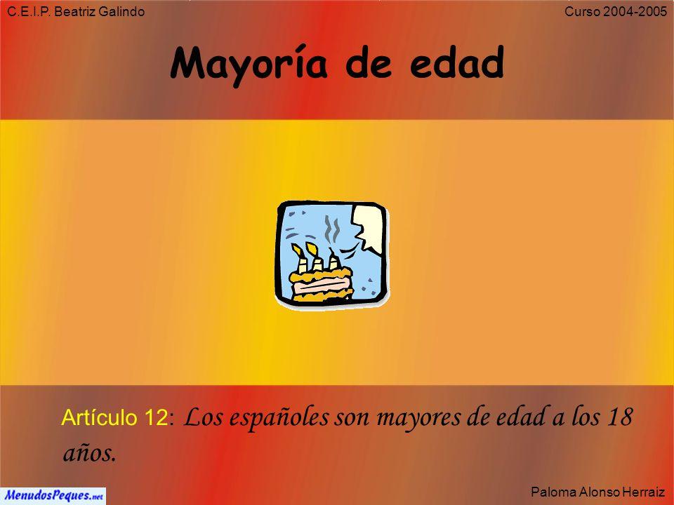 C.E.I.P. Beatriz Galindo Paloma Alonso Herraiz Curso 2004-2005 Derecho a la Nacionalidad Artículo 11: Cualquiera que nazca en España será español toda