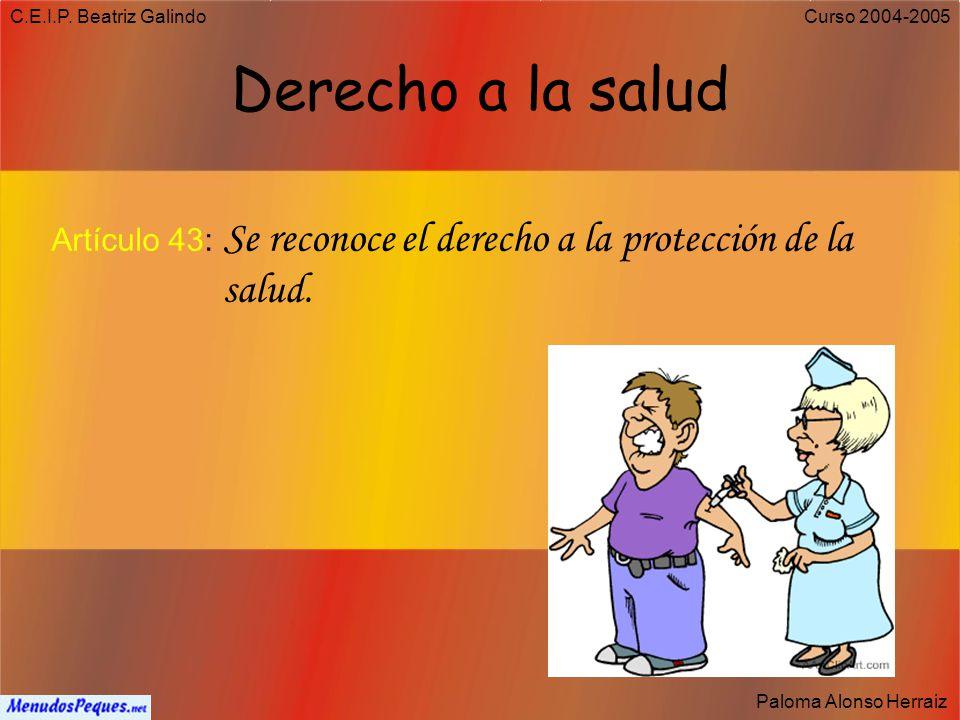 C.E.I.P. Beatriz Galindo Paloma Alonso Herraiz Curso 2004-2005 Deber de protección a los hijos Artículo 39.3: Los padres deben prestar asistencia de t