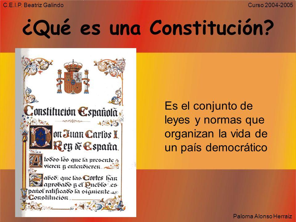 C.E.I.P. Beatriz Galindo Paloma Alonso Herraiz Curso 2004-2005 Desde entonces… Cada 6 de diciembre celebramos el cumpleaños de Nuestra Constitución re