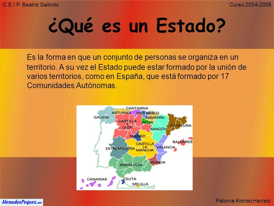 C.E.I.P. Beatriz Galindo Paloma Alonso Herraiz Curso 2004-2005 ¿Qué es una Constitución? Es el conjunto de leyes y normas que organizan la vida de un