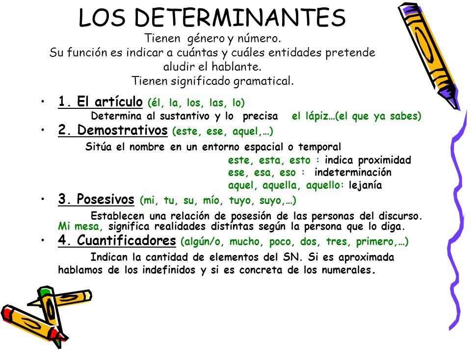 LOS DETERMINANTES Tienen género y número. Su función es indicar a cuántas y cuáles entidades pretende aludir el hablante. Tienen significado gramatica
