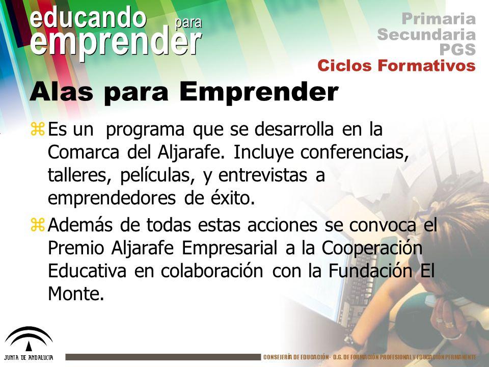 CONSEJERÍA DE EDUCACIÓN· D.G. DE FORMACIÓN PROFESIONAL Y EDUCACIÓN PERMANENTE educando para emprender Alas para Emprender zEs un programa que se desar
