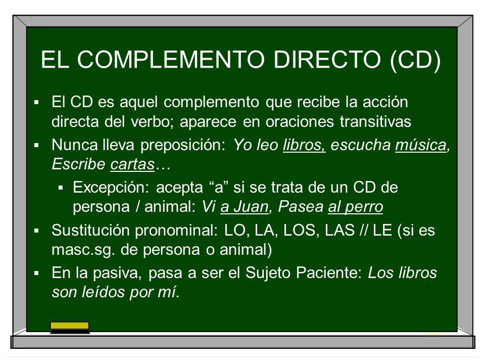 EL COMPLEMENTO DIRECTO (CD) El CD es aquel complemento que recibe la acción directa del verbo; aparece en oraciones transitivas Nunca lleva preposició