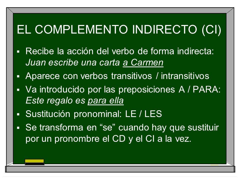 EL COMPLEMENTO INDIRECTO (CI) Recibe la acción del verbo de forma indirecta: Juan escribe una carta a Carmen Aparece con verbos transitivos / intransi