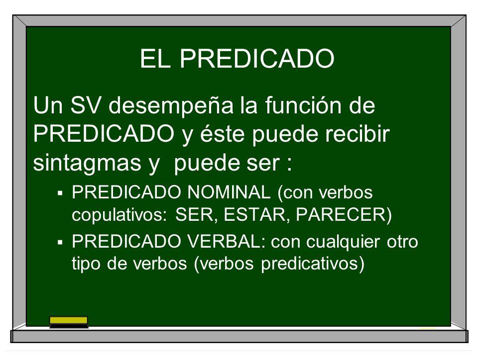 EL PREDICADO Un SV desempeña la función de PREDICADO y éste puede recibir sintagmas y puede ser : PREDICADO NOMINAL (con verbos copulativos: SER, ESTA