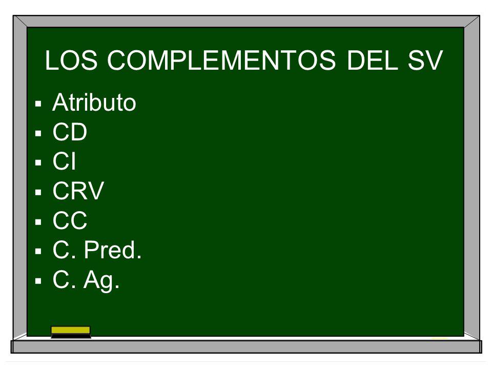 EL COMPLEMENTO DE RÉGIMEN VERBAL (CRV) Se trata de complementos que son exigidos por el verbo: CONTAR CON, INSISTIR EN, CONFIAR EN, CREER EN OCUPARSE DE, HABLAR DE, PENSAR EN, SOÑAR CON, CONTAR CON, CARECER DE, JACTARSE DE, ACOSTUMBRARSE A, CREEN EN, MIRAR POR, INSISTIR EN...