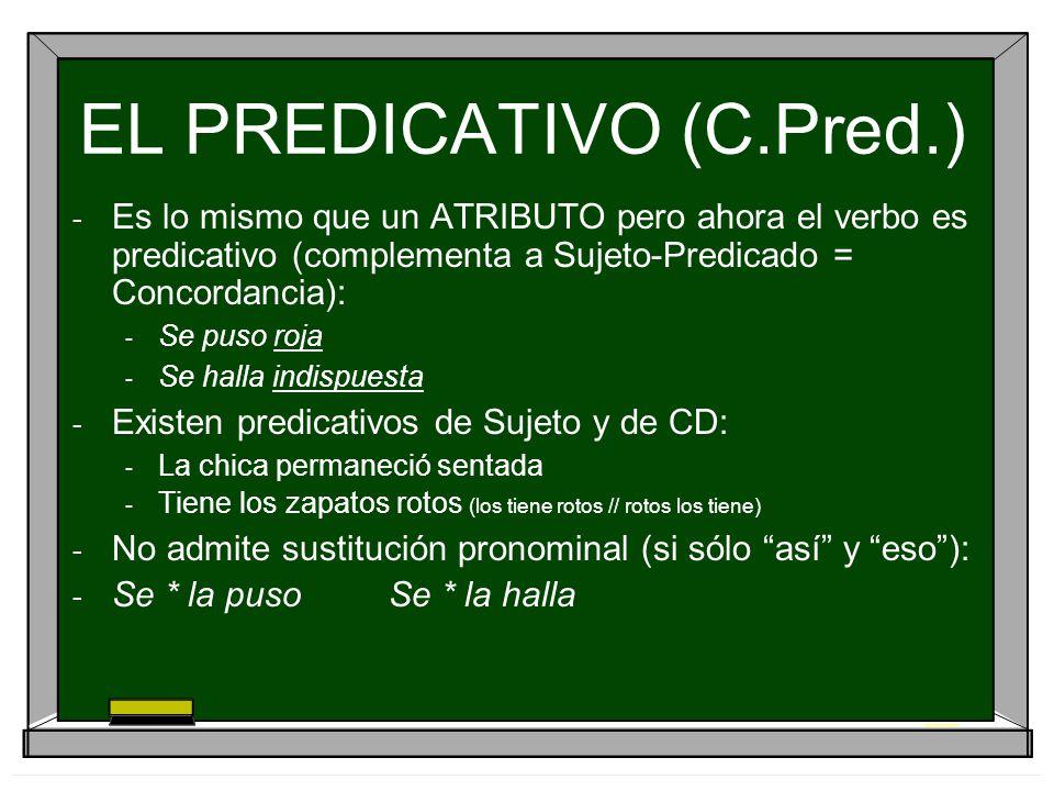 EL PREDICATIVO (C.Pred.) - Es lo mismo que un ATRIBUTO pero ahora el verbo es predicativo (complementa a Sujeto-Predicado = Concordancia): - Se puso r