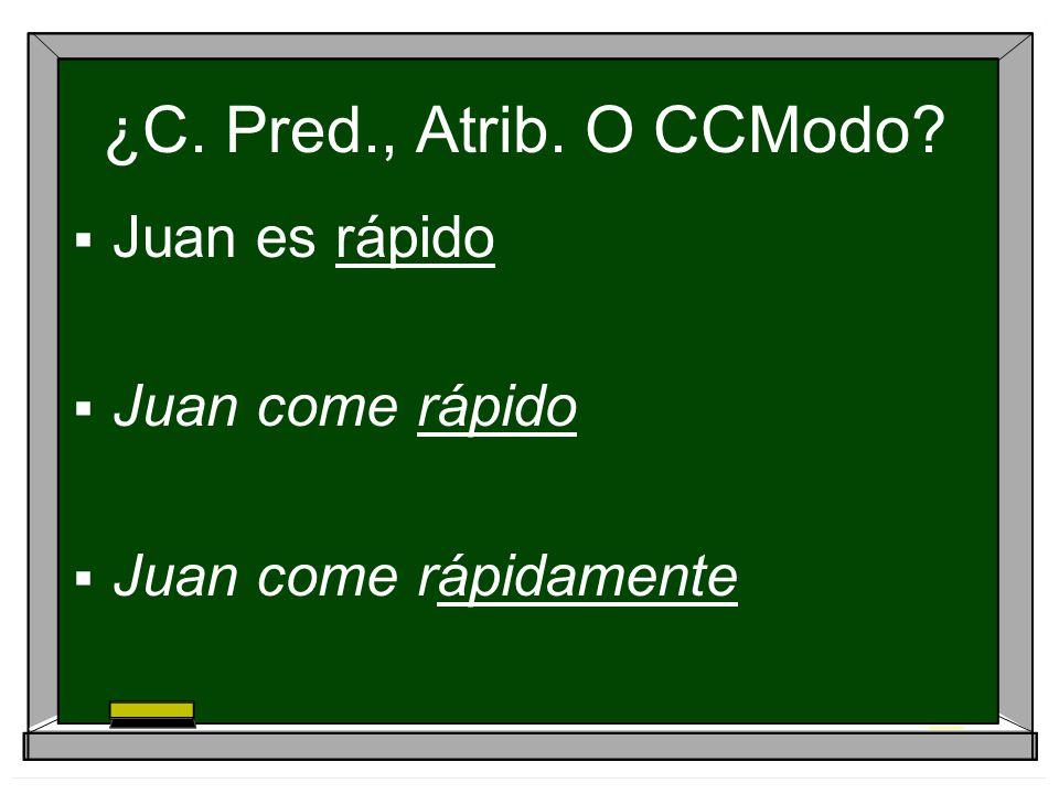 SOLUCIÓN Juan es rápido adjetivo – atributo (lo) Juan come rápido adjetivo – predicativo (así) Juan come rápidamente adverbio – ccm (no concuerda)