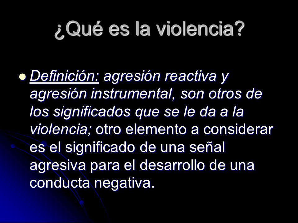 ¿Qué es la violencia? Definición: agresión reactiva y agresión instrumental, son otros de los significados que se le da a la violencia; otro elemento