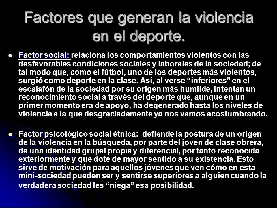 Factores que generan la violencia en el deporte. Factor social: Factor social: relaciona los comportamientos violentos con las desfavorables condicion