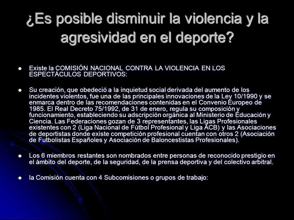 ¿Es posible disminuir la violencia y la agresividad en el deporte? Existe la COMISIÓN NACIONAL CONTRA LA VIOLENCIA EN LOS ESPECTÁCULOS DEPORTIVOS: Exi